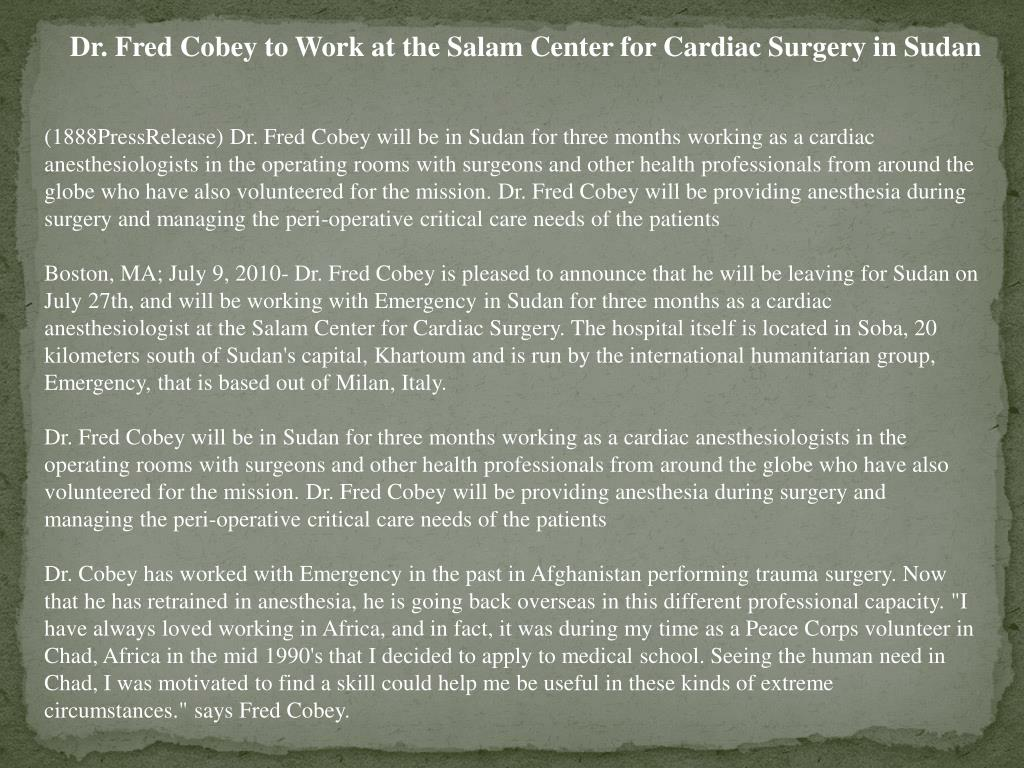 Dr. Fred Cobey to Work at the Salam Center for Cardiac Surgery in Sudan