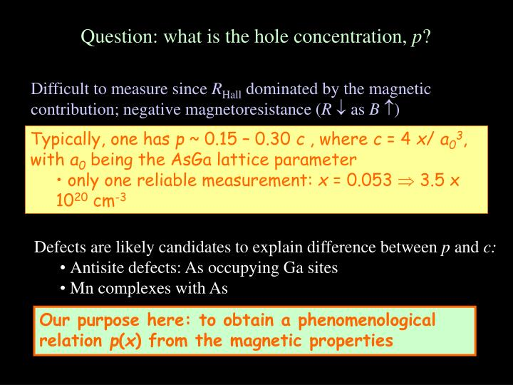 Question: what is the hole concentration,