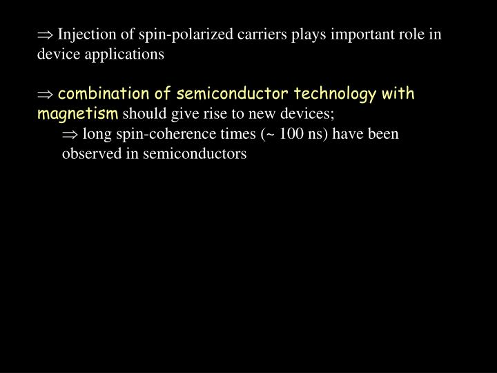 Injection of spin-polarized carriers plays important role in device applications