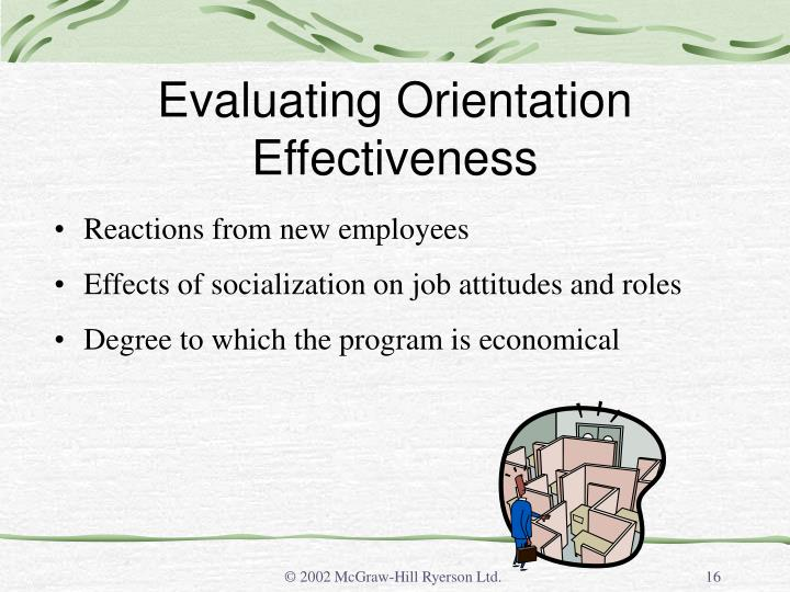 Evaluating Orientation Effectiveness