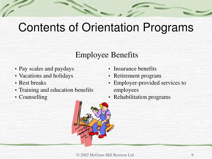 Contents of Orientation Programs