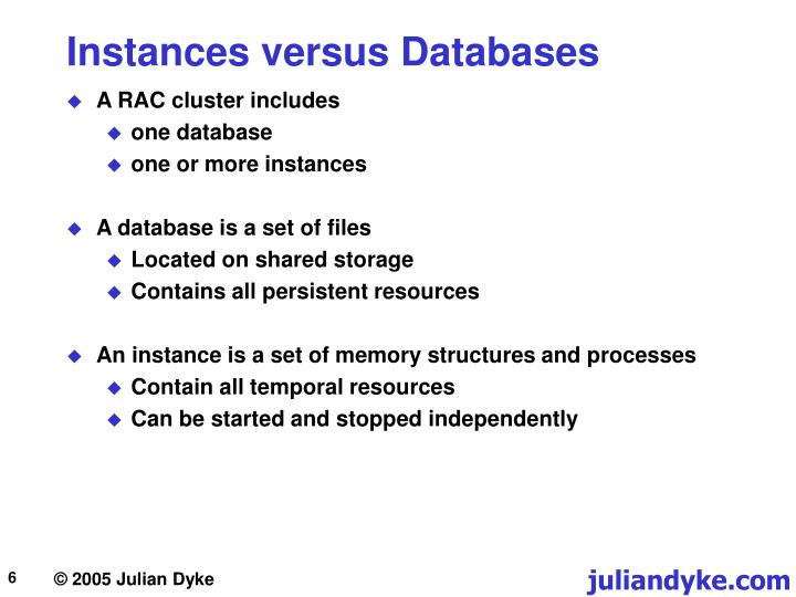 Instances versus Databases