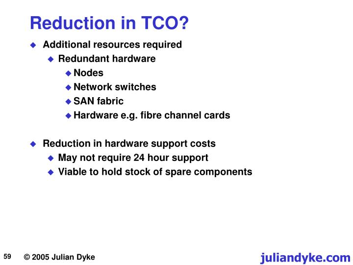 Reduction in TCO?