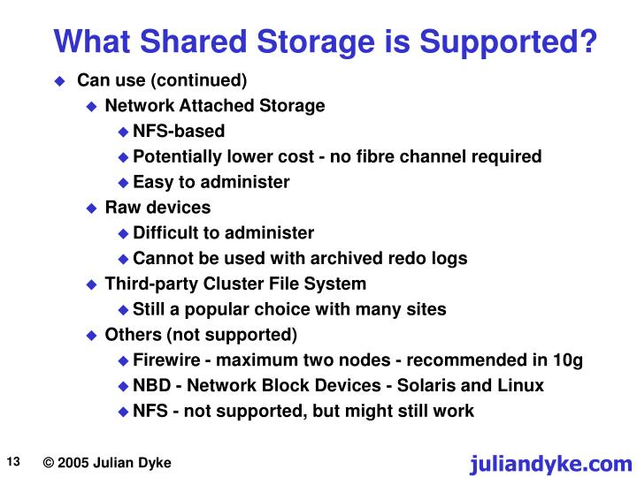 What Shared Storage is Supported?