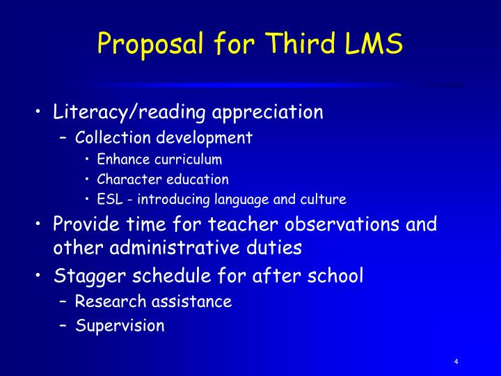 Proposal for Third LMS