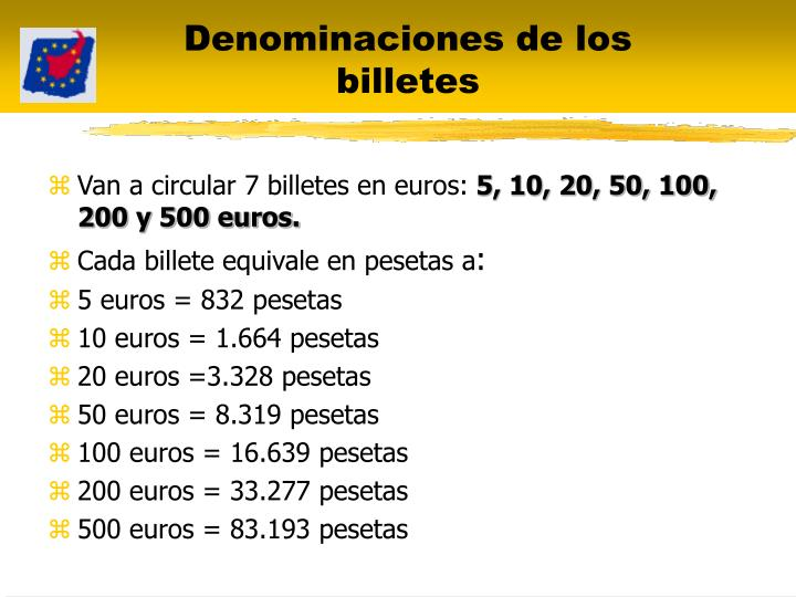 Denominaciones de los billetes