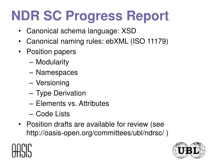 NDR SC Progress Report