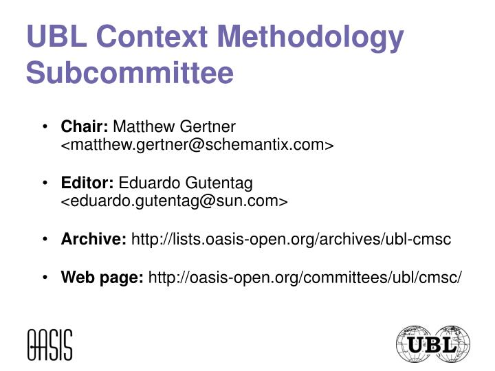 UBL Context Methodology Subcommittee