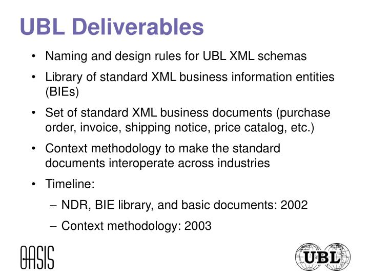 UBL Deliverables