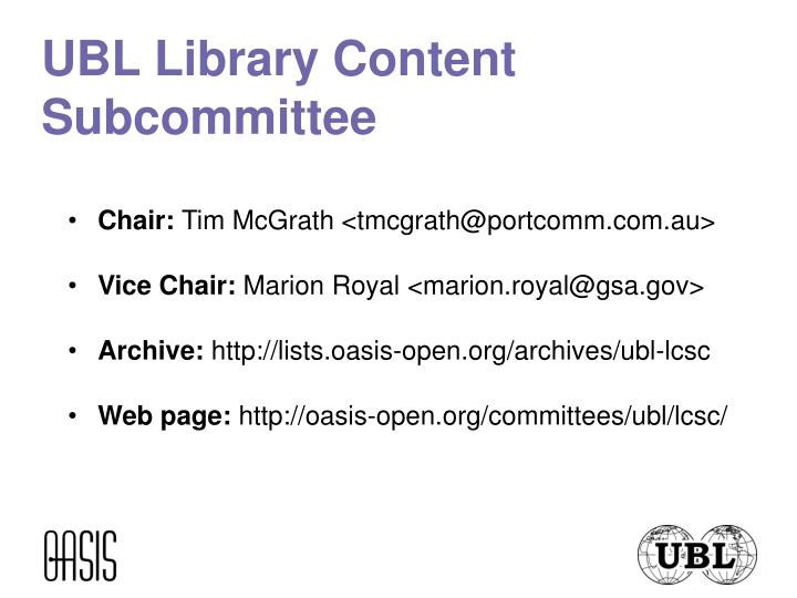 UBL Library Content Subcommittee