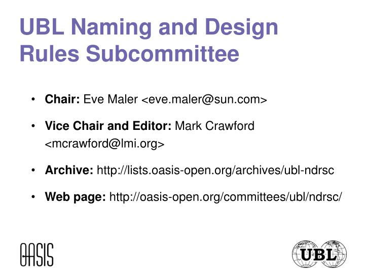 UBL Naming and Design Rules Subcommittee