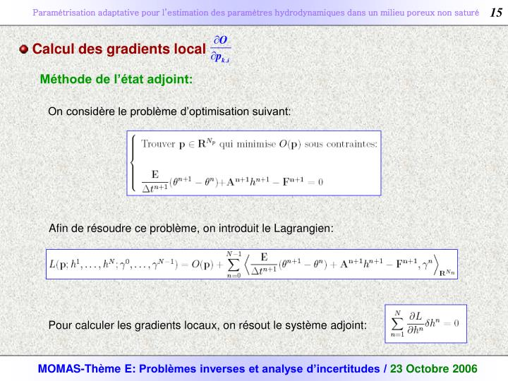 Calcul des gradients local