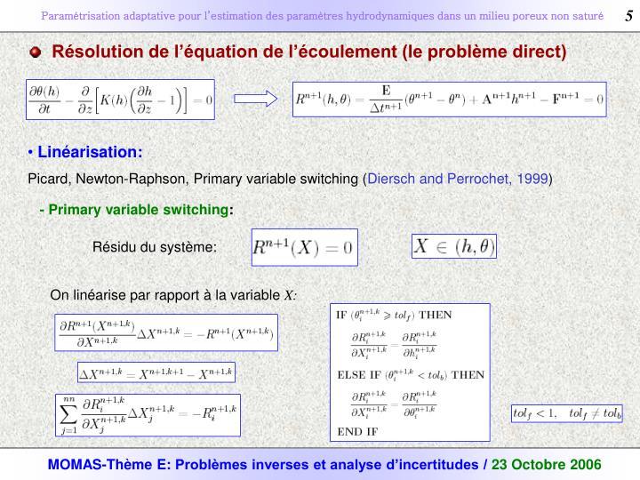 Résolution de l'équation de l'écoulement (le problème direct)