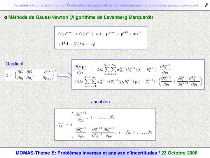 Méthode de Gauss-Newton (Algorithme de Levenberg Marquardt)