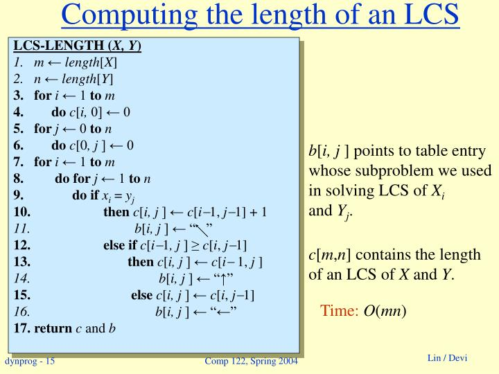 Computing the length of an LCS