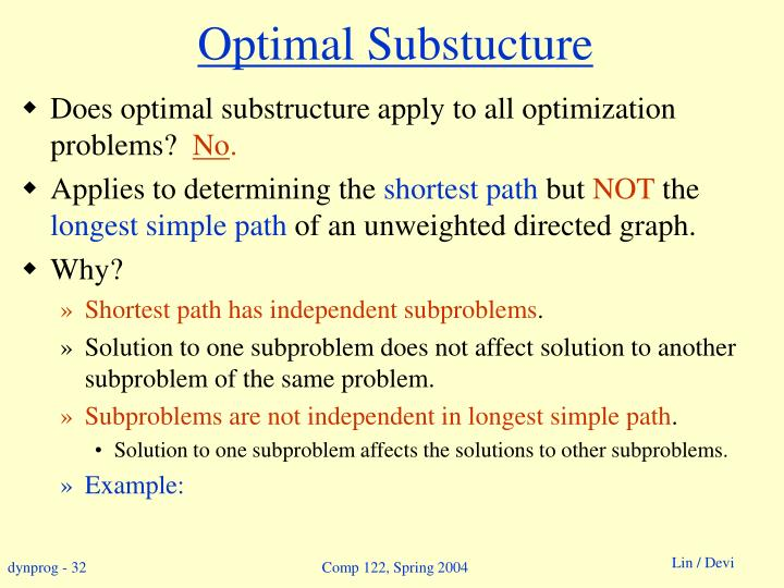 Optimal Substucture