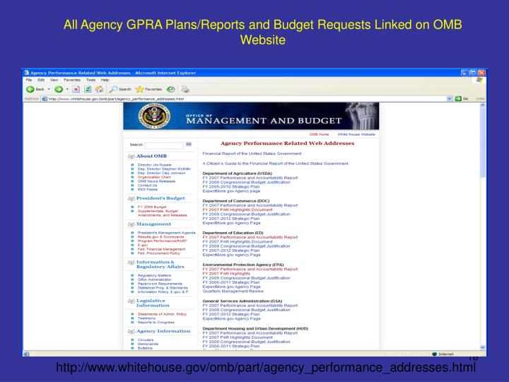 All Agency GPRA Plans/Reports and Budget Requests Linked on OMB Website