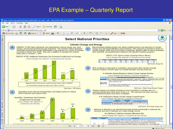 EPA Example – Quarterly Report