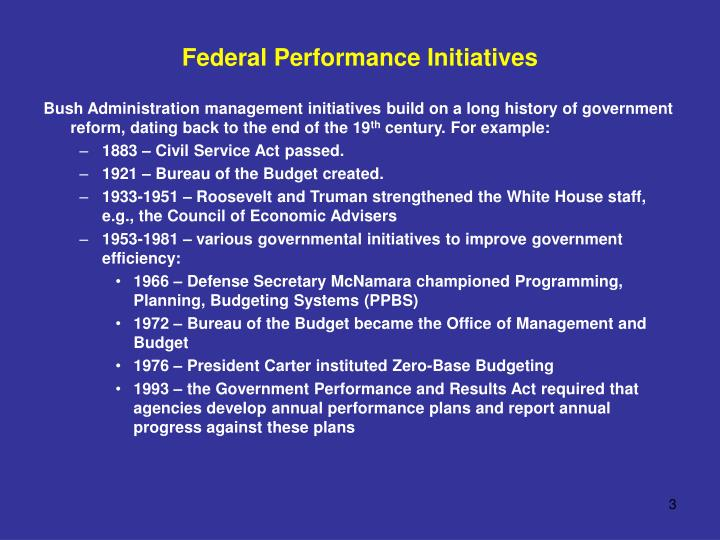 Federal Performance Initiatives