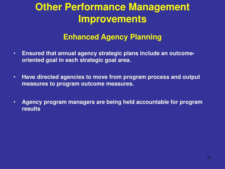 Other Performance Management Improvements