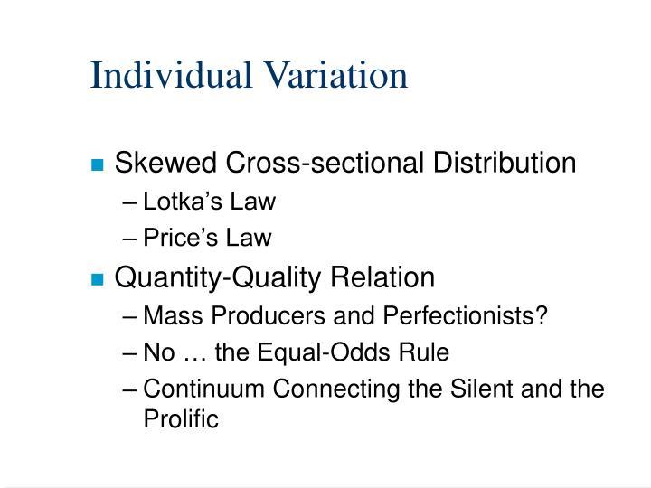 Individual Variation
