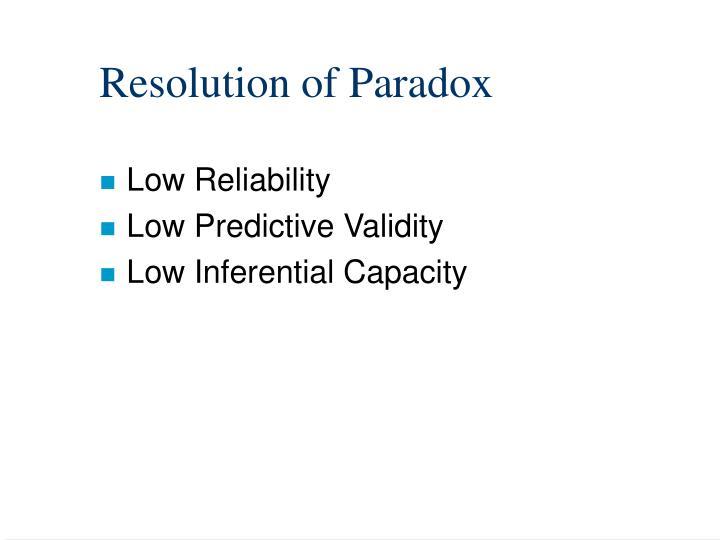 Resolution of Paradox