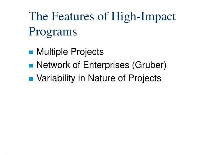 The Features of High-Impact Programs