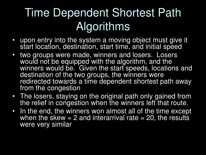 Time Dependent Shortest Path Algorithms