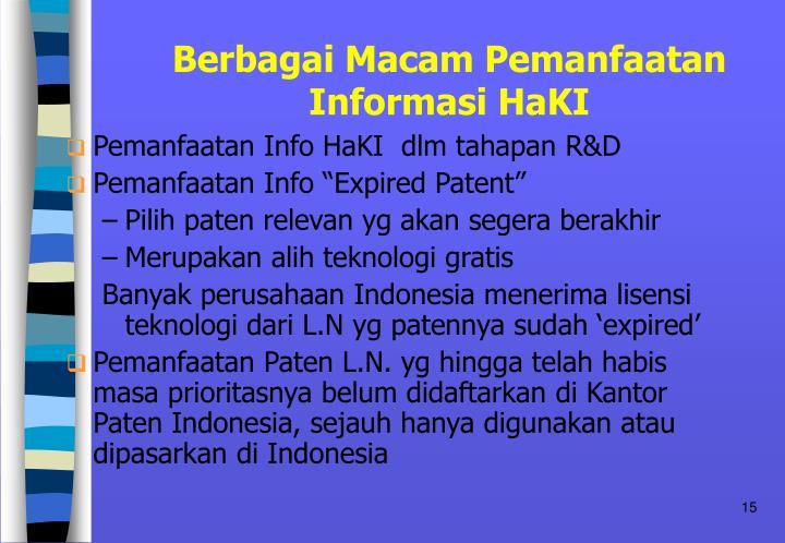 Berbagai Macam Pemanfaatan Informasi HaKI