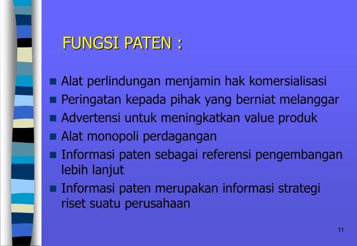 FUNGSI PATEN :