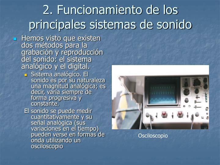 2. Funcionamiento de los principales sistemas de sonido