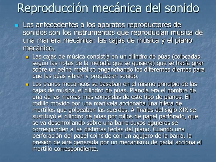 Reproducción mecánica del sonido
