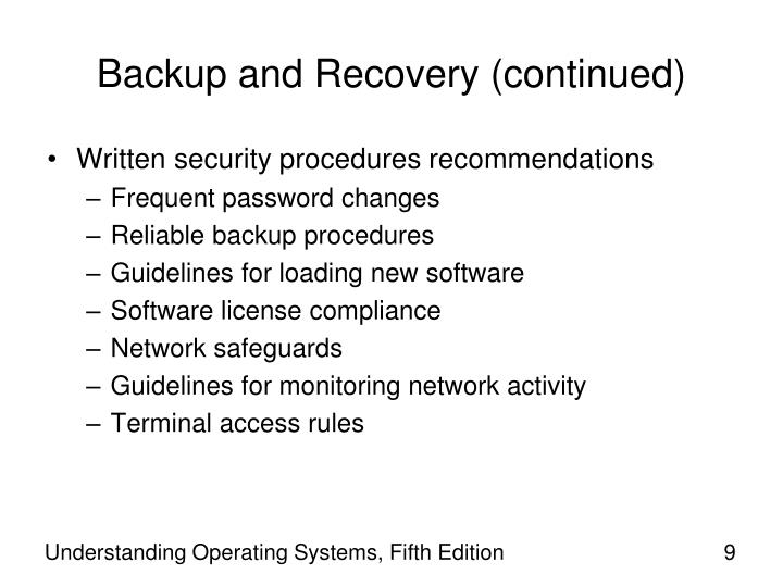 Backup and Recovery (continued)