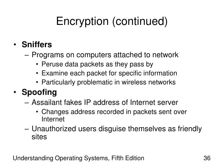 Encryption (continued)