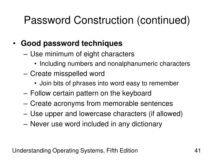 Password Construction (continued)