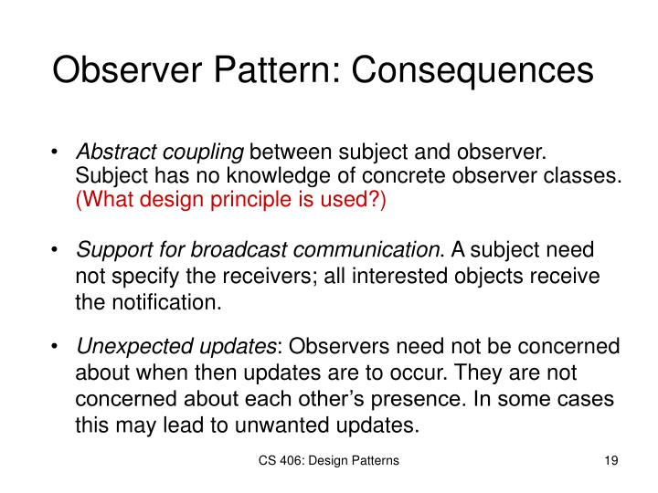 Observer Pattern: Consequences