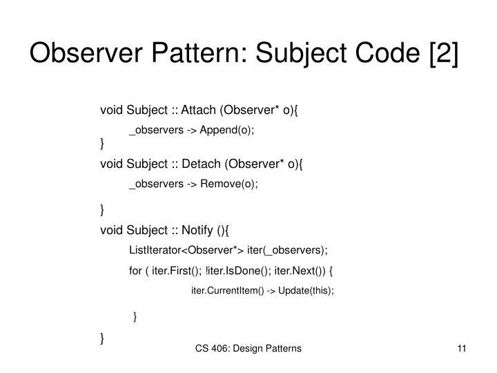 Observer Pattern: Subject Code [2]