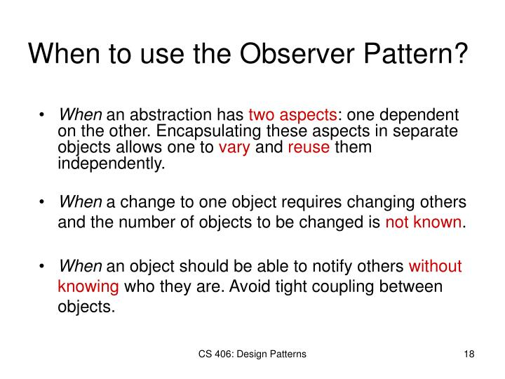 When to use the Observer Pattern?