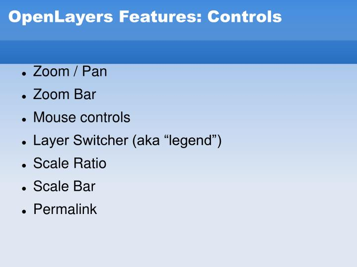 OpenLayers Features: Controls