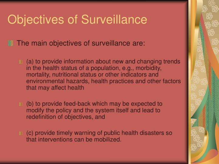 Objectives of Surveillance