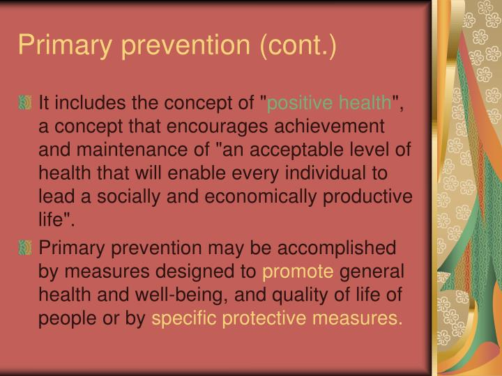 Primary prevention (cont.)