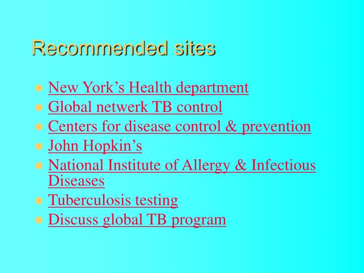 Recommended sites
