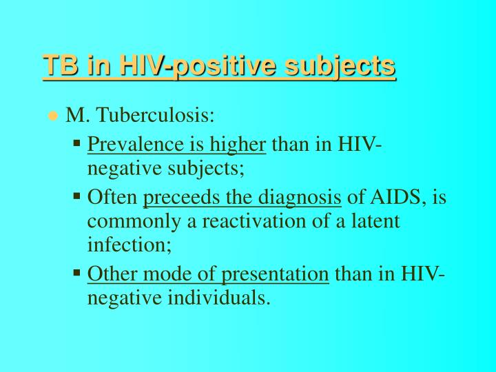 TB in HIV-positive subjects