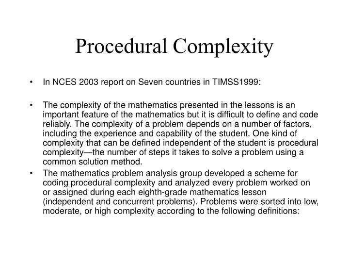 Procedural Complexity