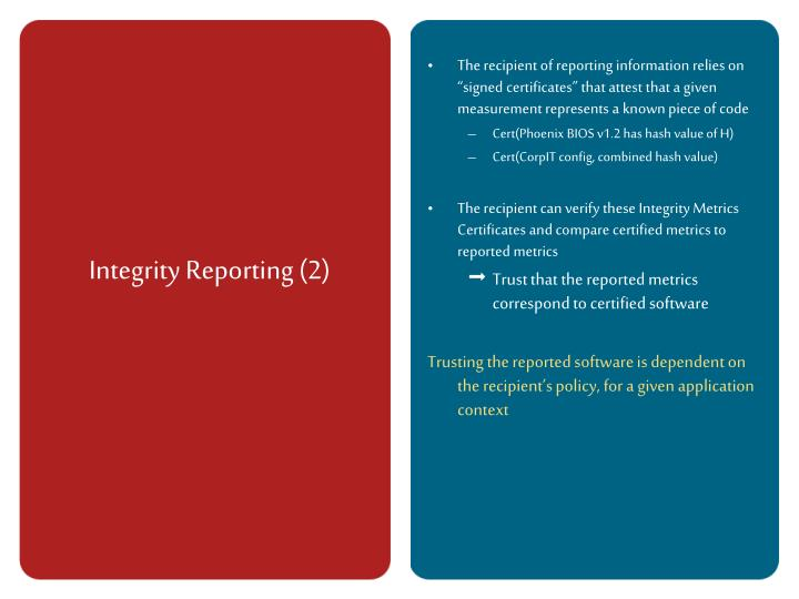 Integrity Reporting (2)