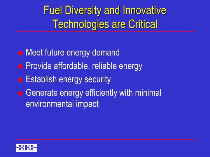 Fuel diversity and innovative technologies are critical