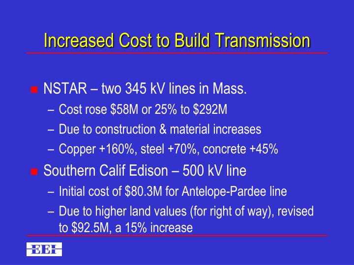 Increased Cost to Build Transmission