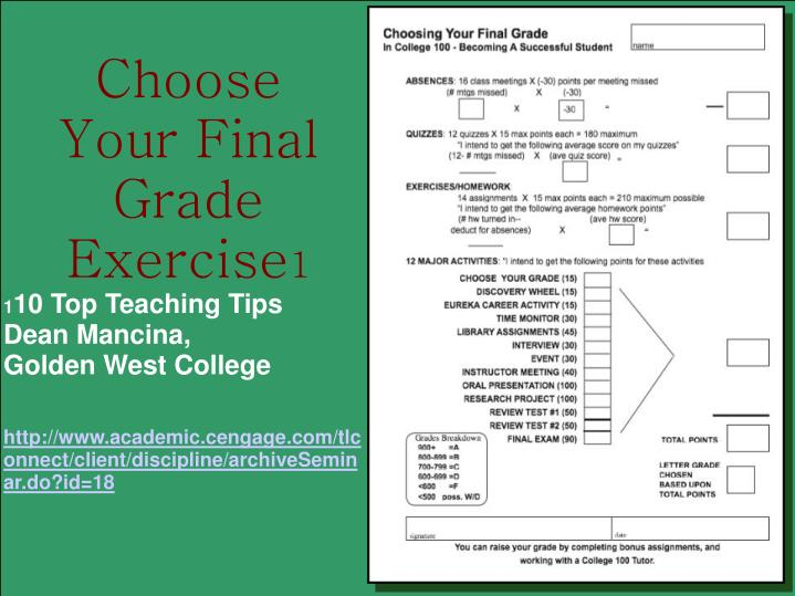 Choose Your Final Grade Exercise