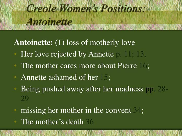 Creole Women's Positions: Antoinette