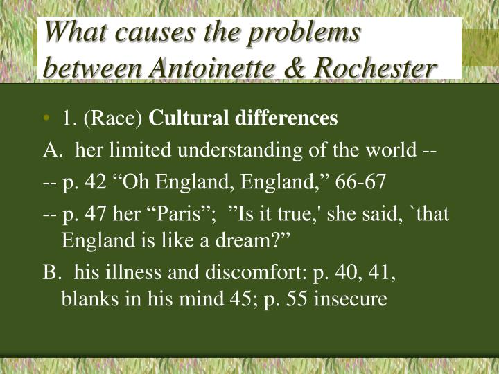 What causes the problems between Antoinette & Rochester